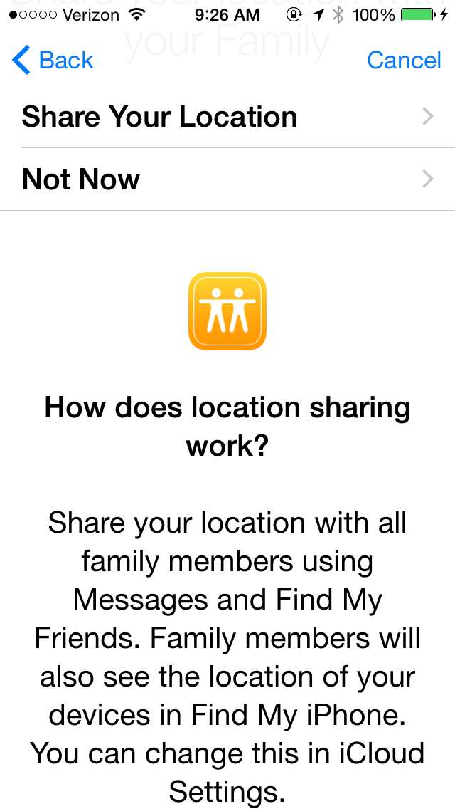 Share location in Family Sharing