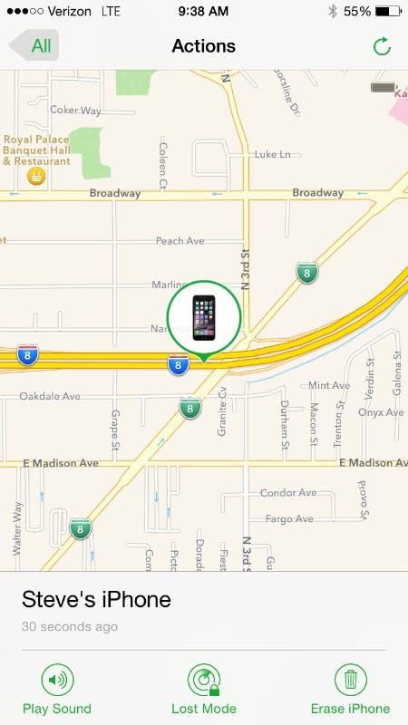 Track location with Find My iPhone