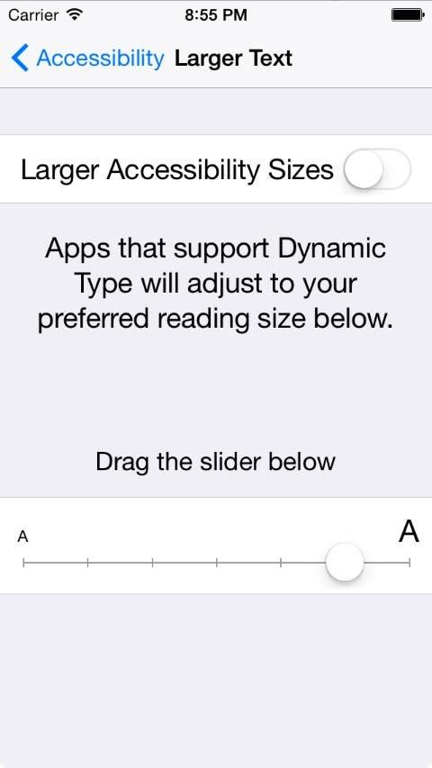 Dynamic Type settings