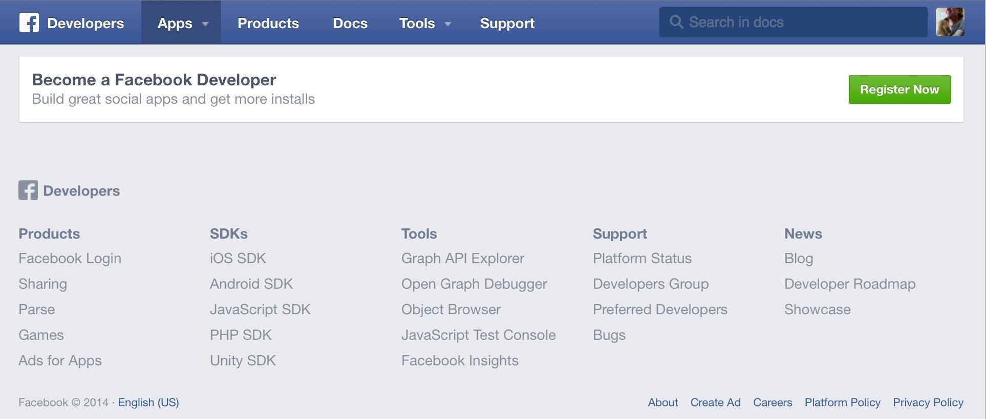 Facebook Developer Registration