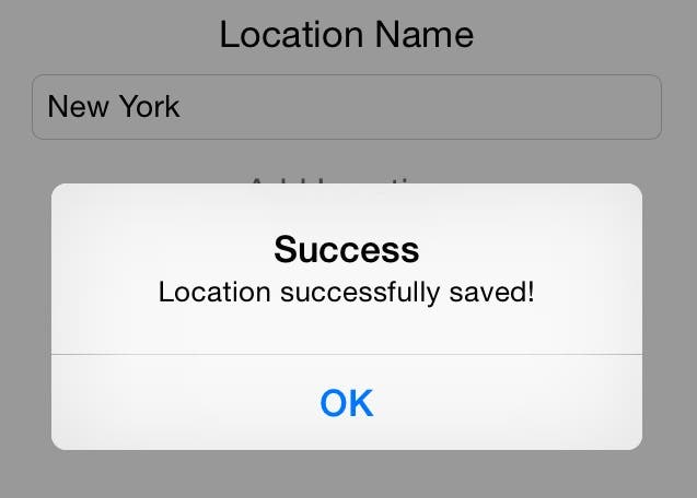 The location was successfully saved!