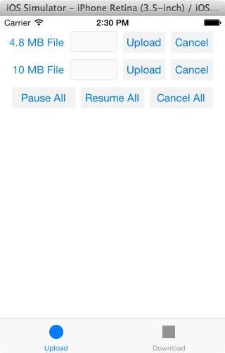 Sample app upload scene
