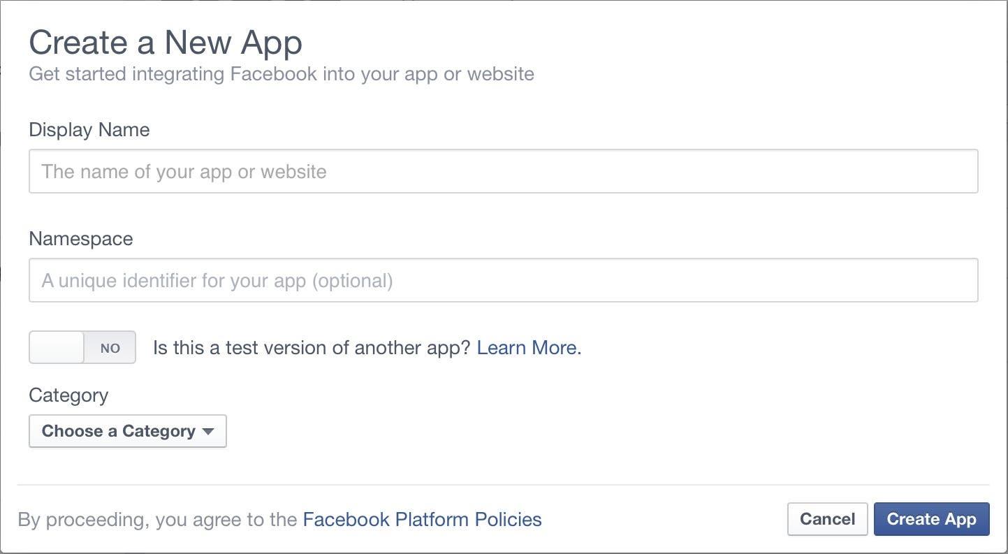 Create a New App dialog