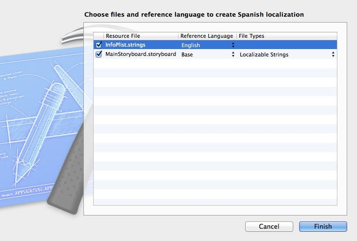Choose files for Spanish