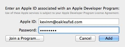 Enter an Apple ID