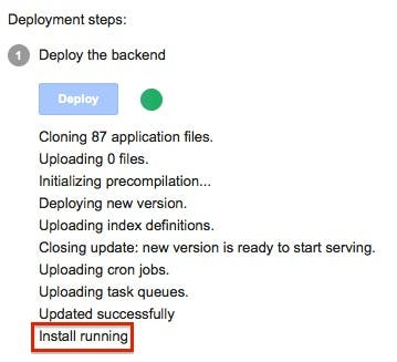 Backend Install running