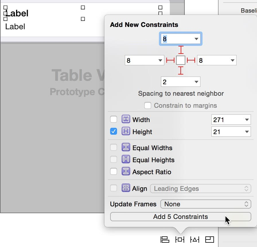 Add constraints to the top label