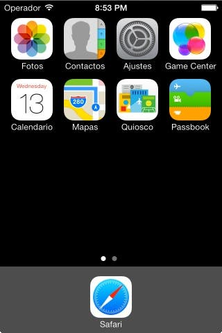 Home screen Spanish
