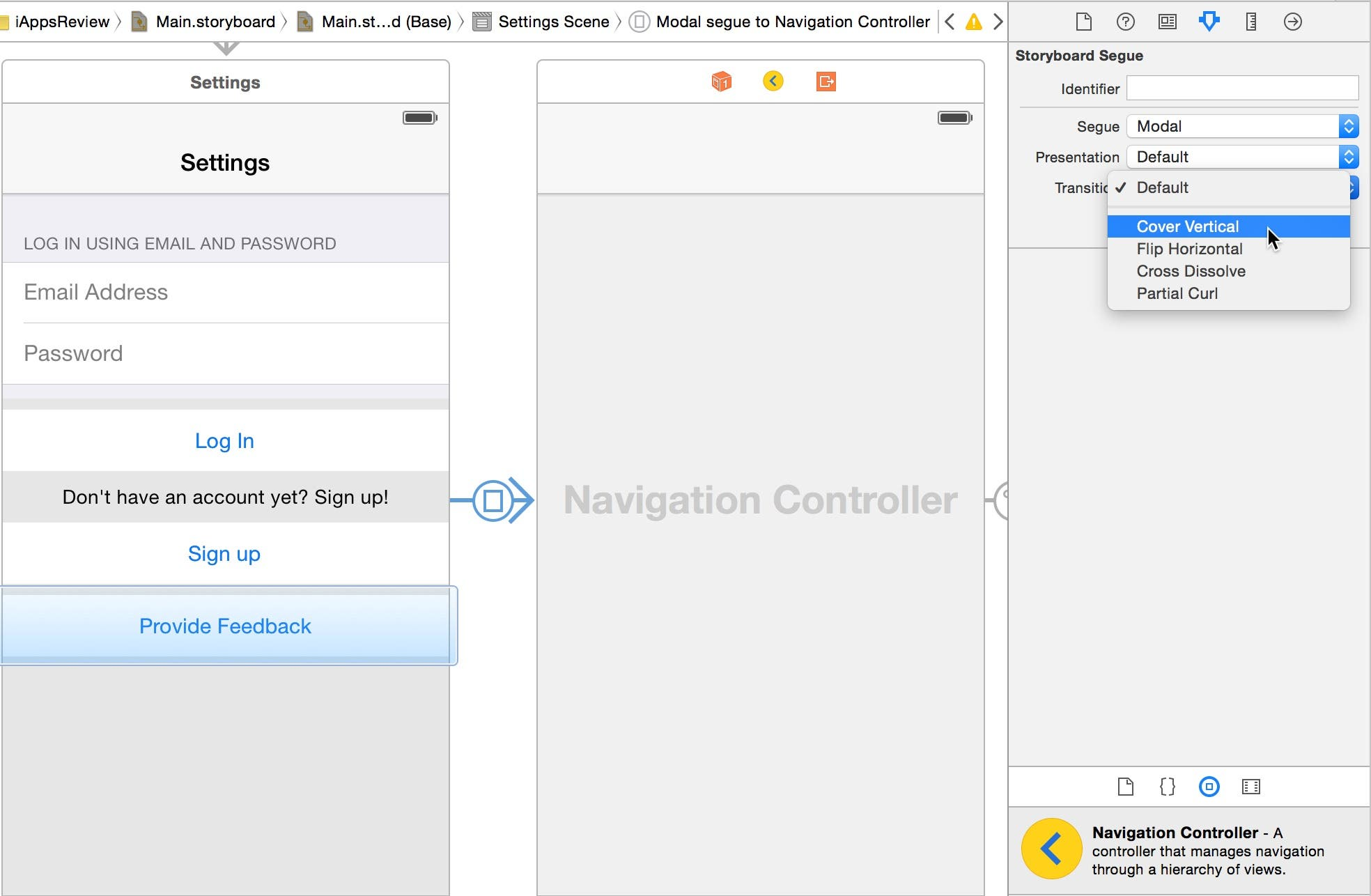 Change the modal segue's Transition attribute to Cover Vertical