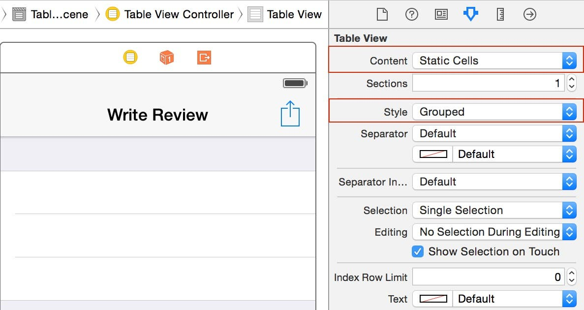 Configure the table view