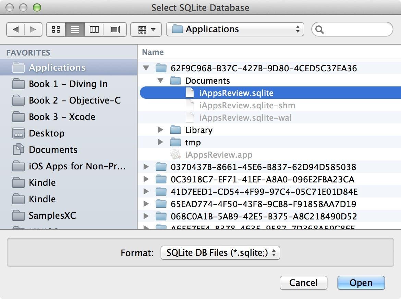 Select the SQLite file