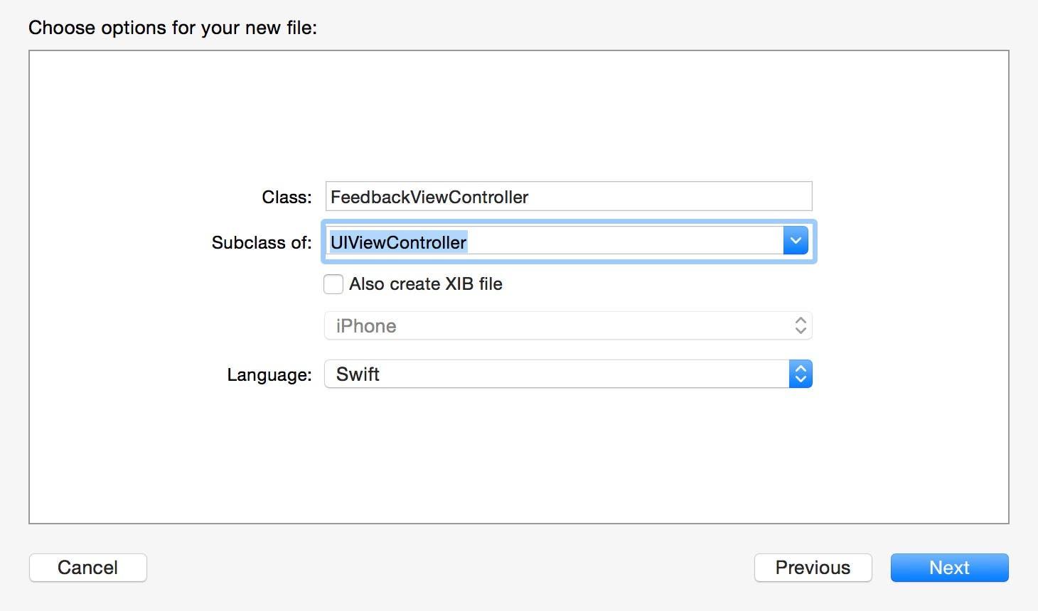 Create a new FeedbackViewController class.