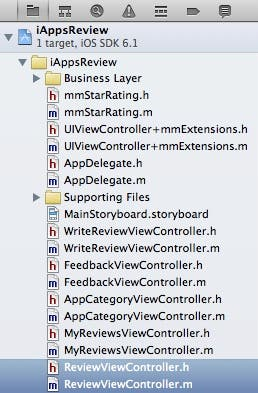 Review view controller files