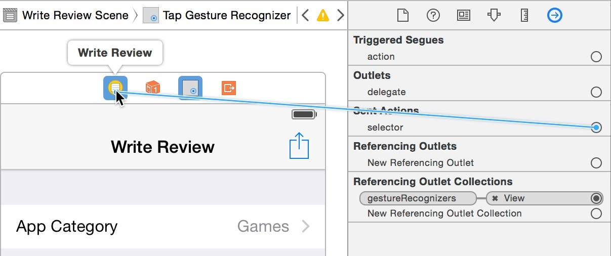 Connect the gesture recognizer's selector