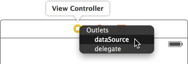 Select the dataSource outlet