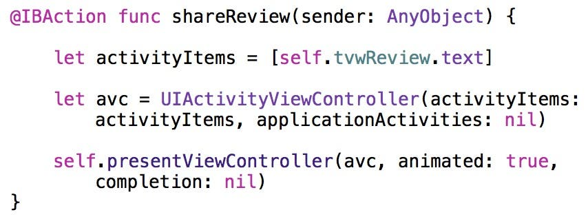 Show activity view controller
