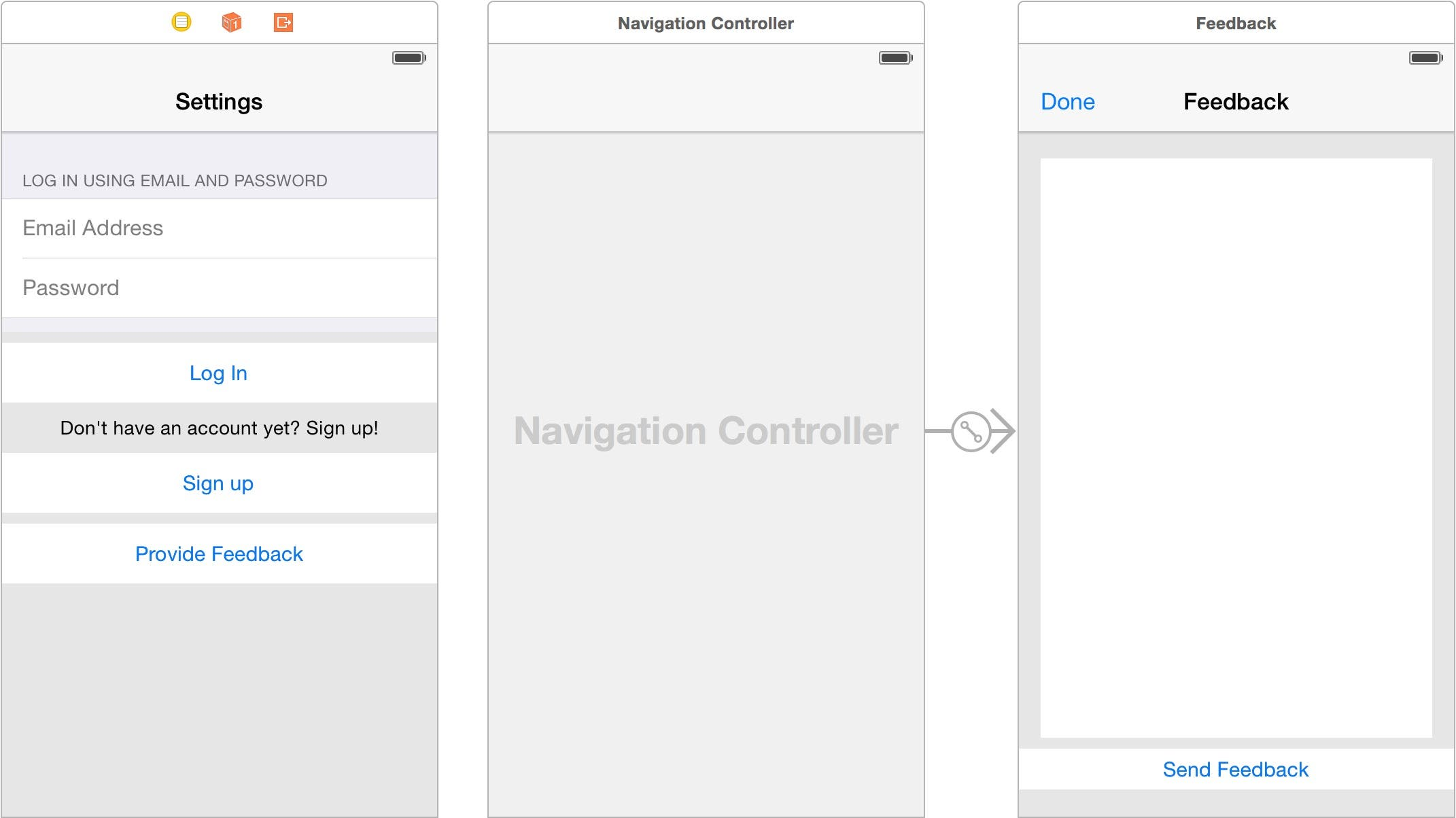 Embed Feedback scene in a navigation controller