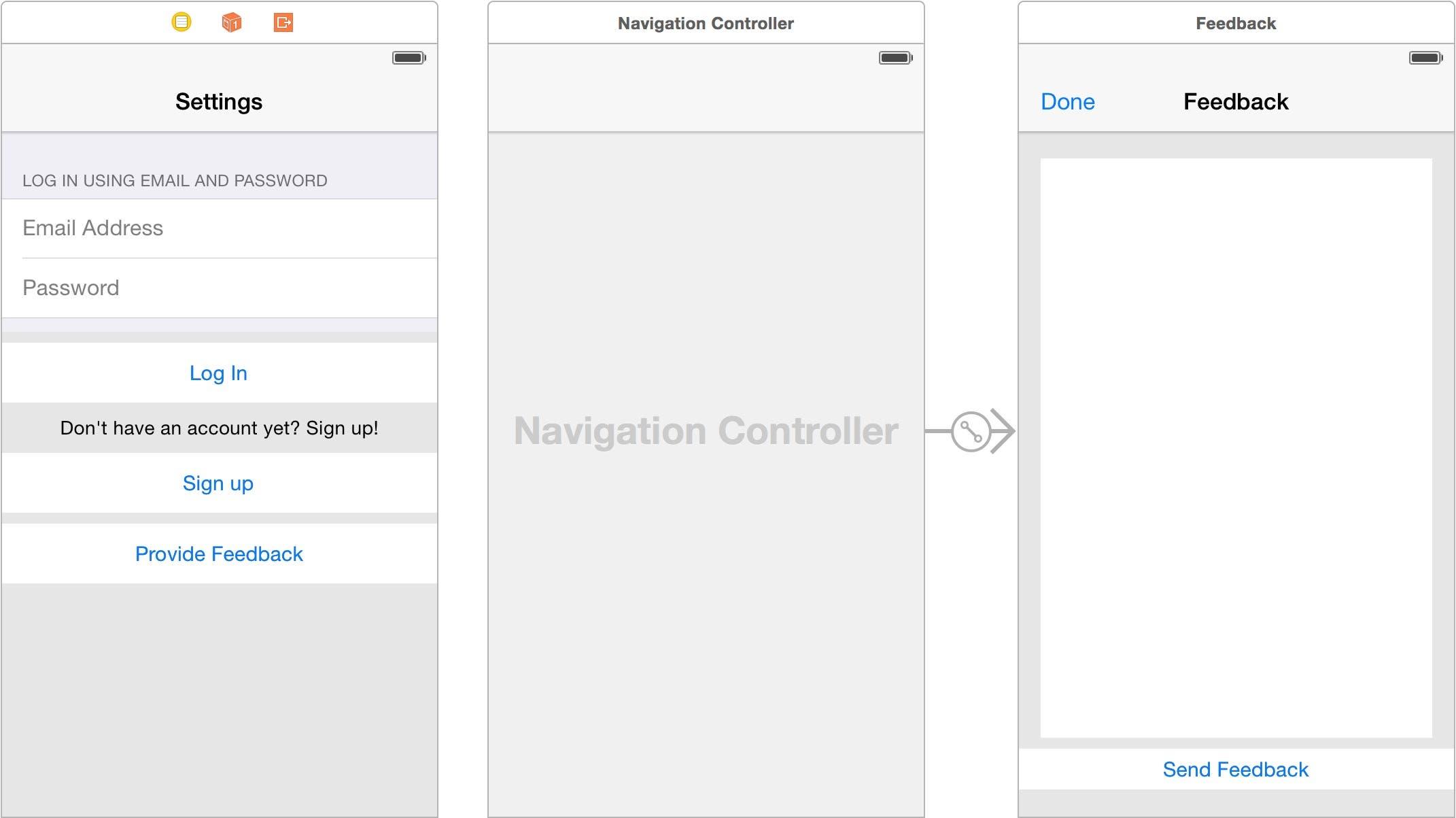 Embed Feedback scene in a navigation controller
