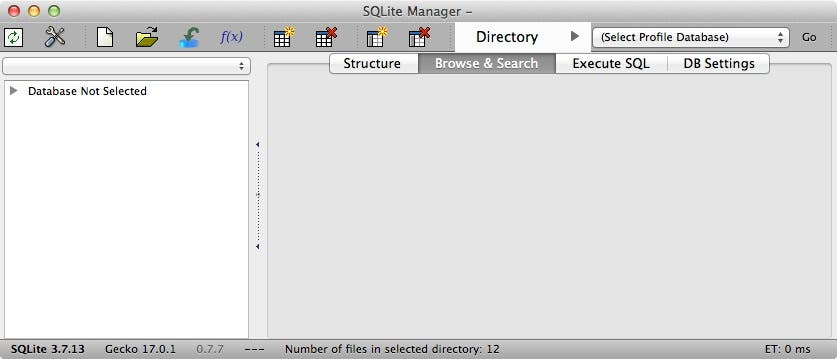 The SQLite Manager window