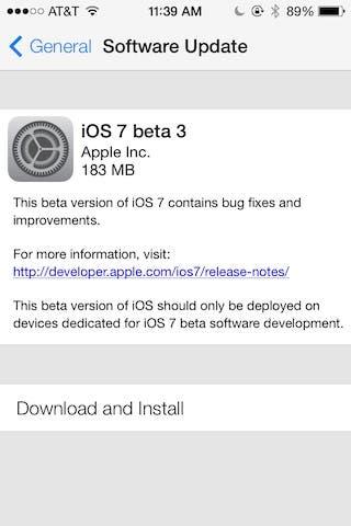 Installing iOS 7 Beta 3