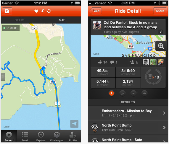 Strava Cycling iPhone app