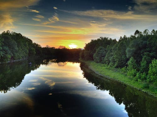 3 - Sunset on Chemung River, Athens, PA by Louis Quattrini