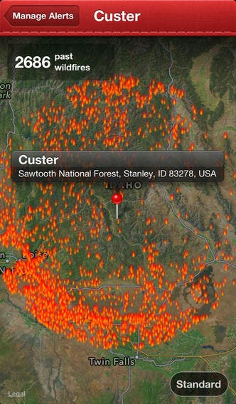 wildfires app screenshot