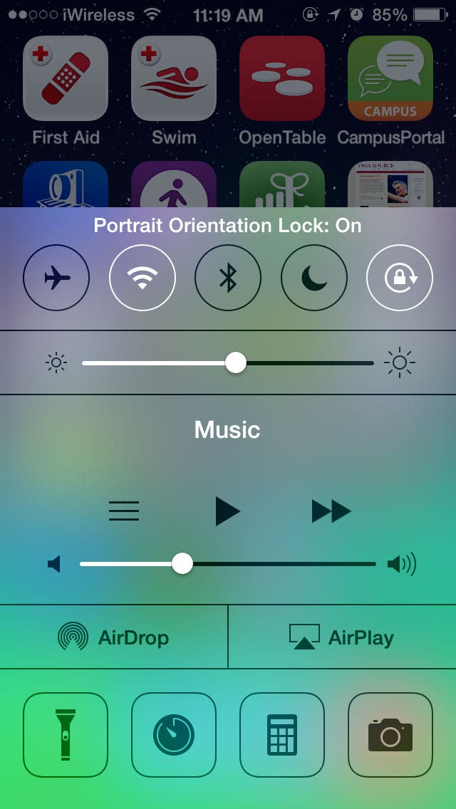 portrait orientation lock iphone