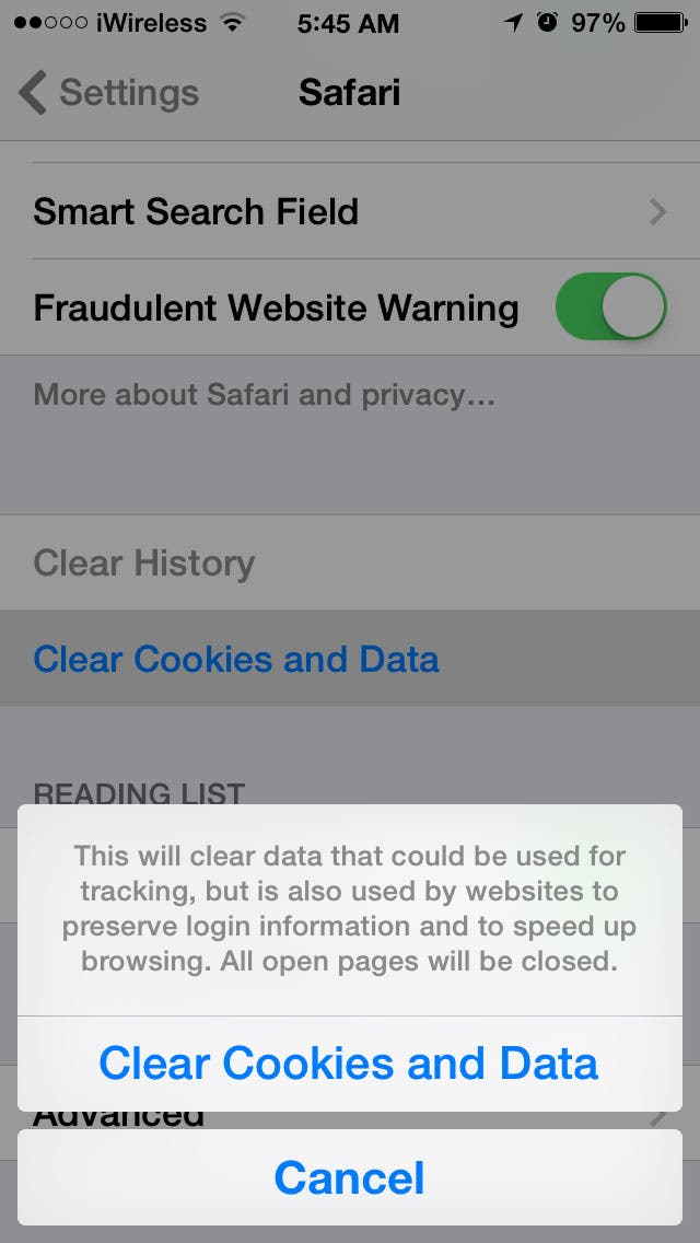 how to clear safari browsing history and cache