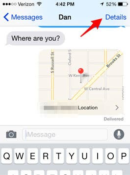 how to send location on iphone imessage