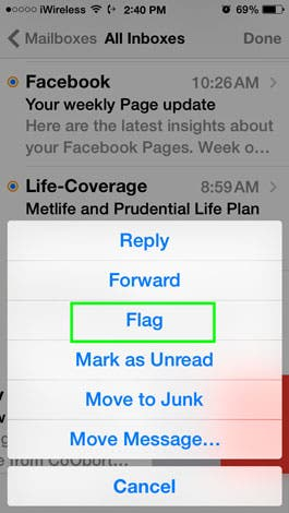 how to put emails into folders on iphone