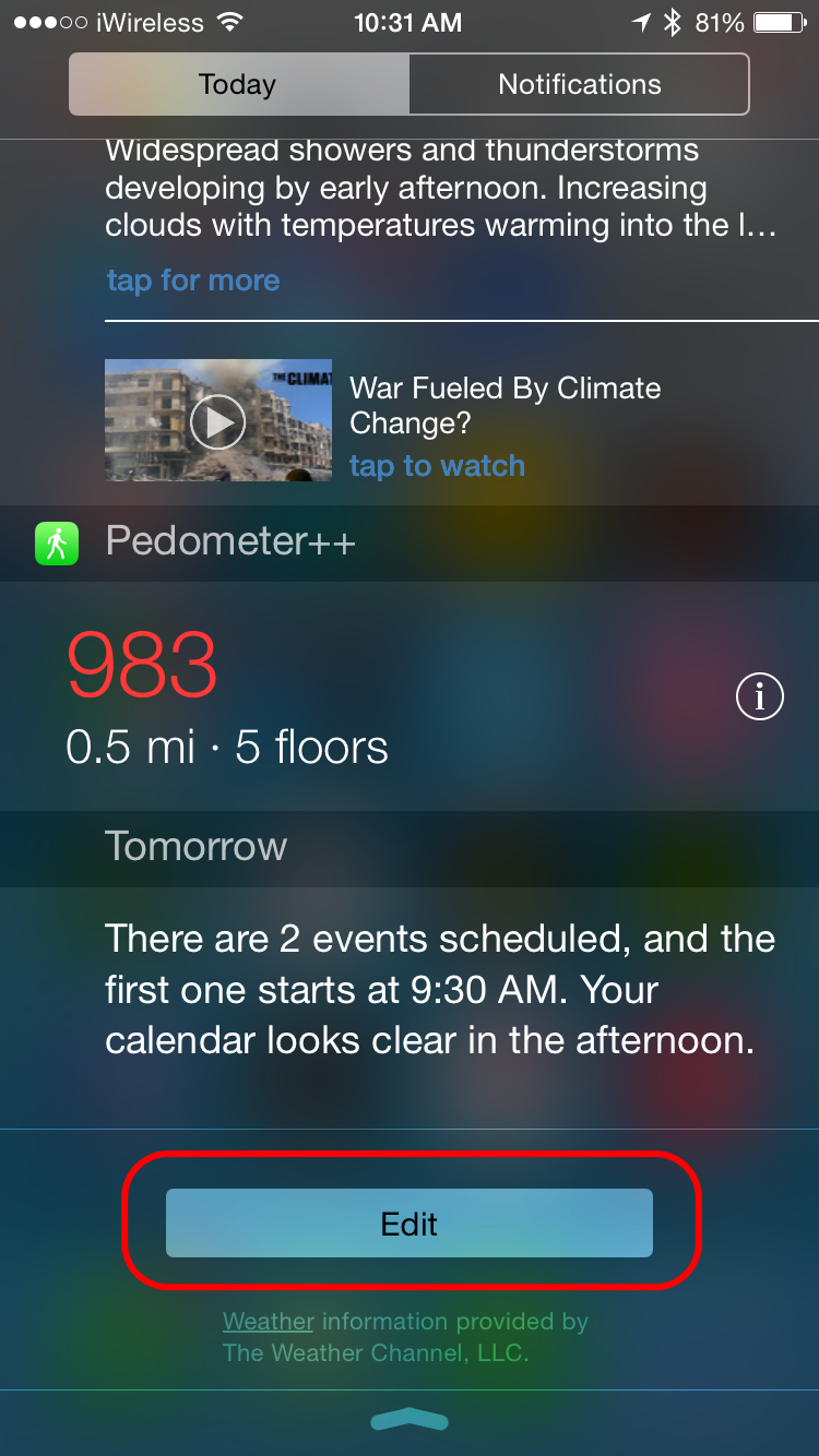 You'll Be Taken To A List Of Widgets Included And Not Included In The  Notification Center Swipe Left On Today Summary And Tap Remove