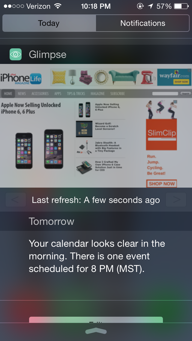 Glimpse in the notification center