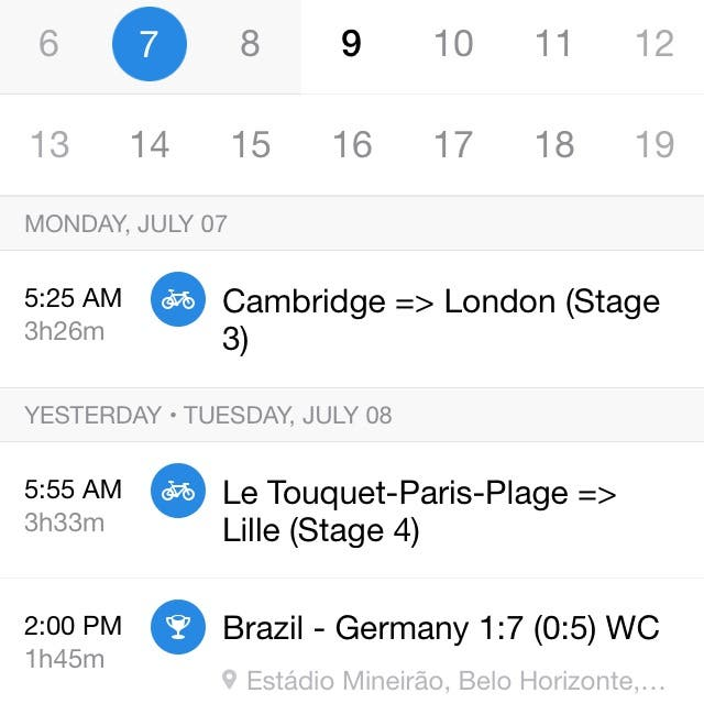 Screenshot of labels in Sunrise Calendar for iPhone