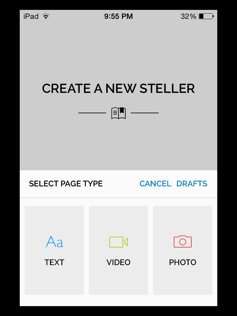 Create a new story in Steller.