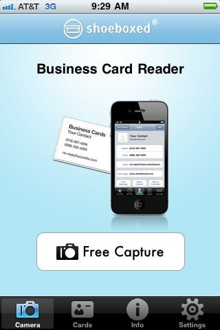 Shoeboxed Business Card Reader free app uses camera to