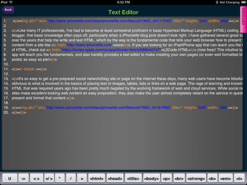 L2Code HTML Review - Learn and Create HTML on your iPad