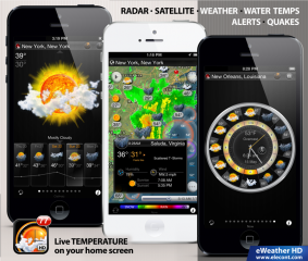 eWeather HD 2.9.5 adds iOS 7 compatibility and offers animated satellite weather for Europe, USA, Japan and Australia