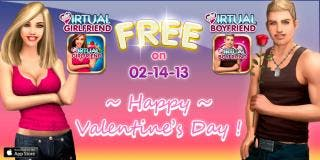 Lonely iPhone owners can get a free virtual boyfriend or girlfriend this Valentines day.