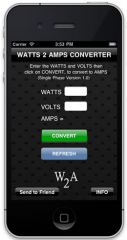 Watts to Amps Converter Calculator - Iphone, Ipod & Ipad App